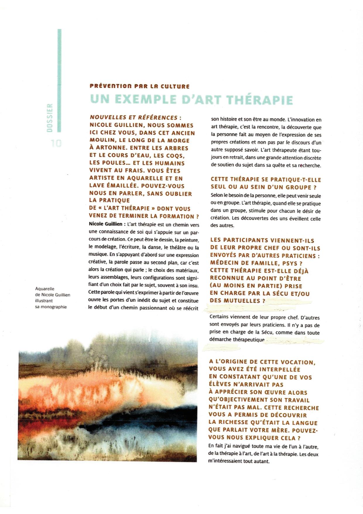 article art thérapie