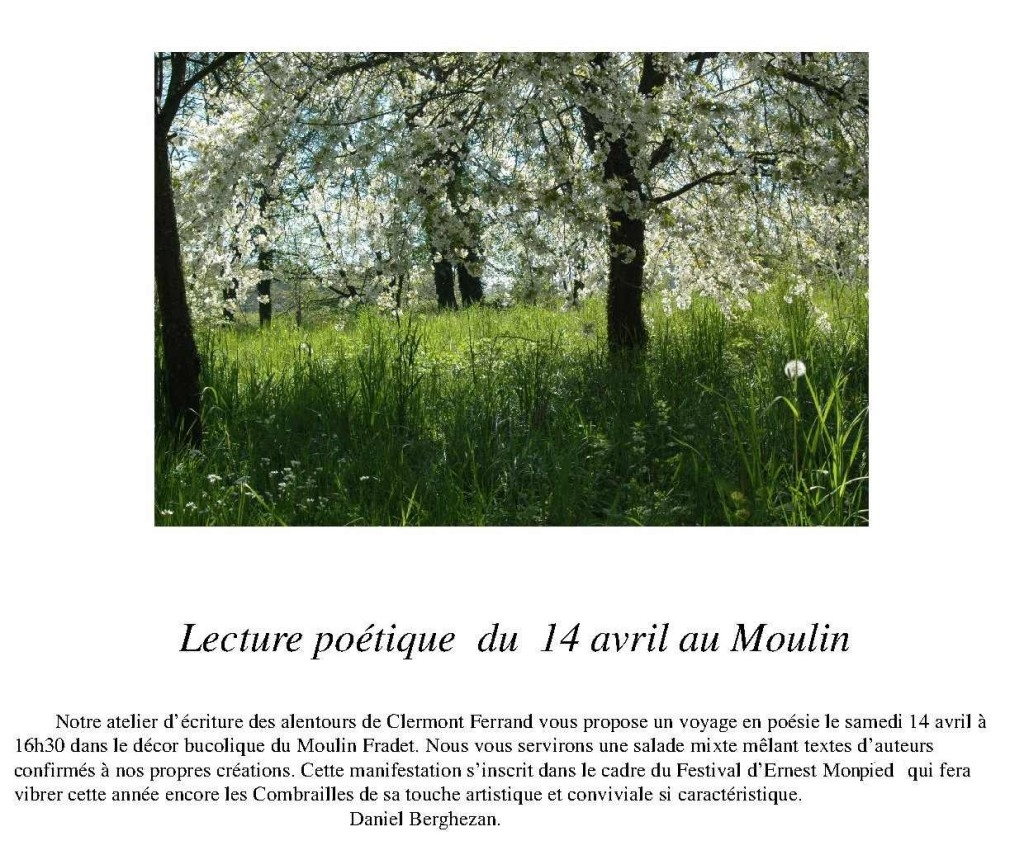 Atelier d'écriture au Moulin le 14 avril 2018