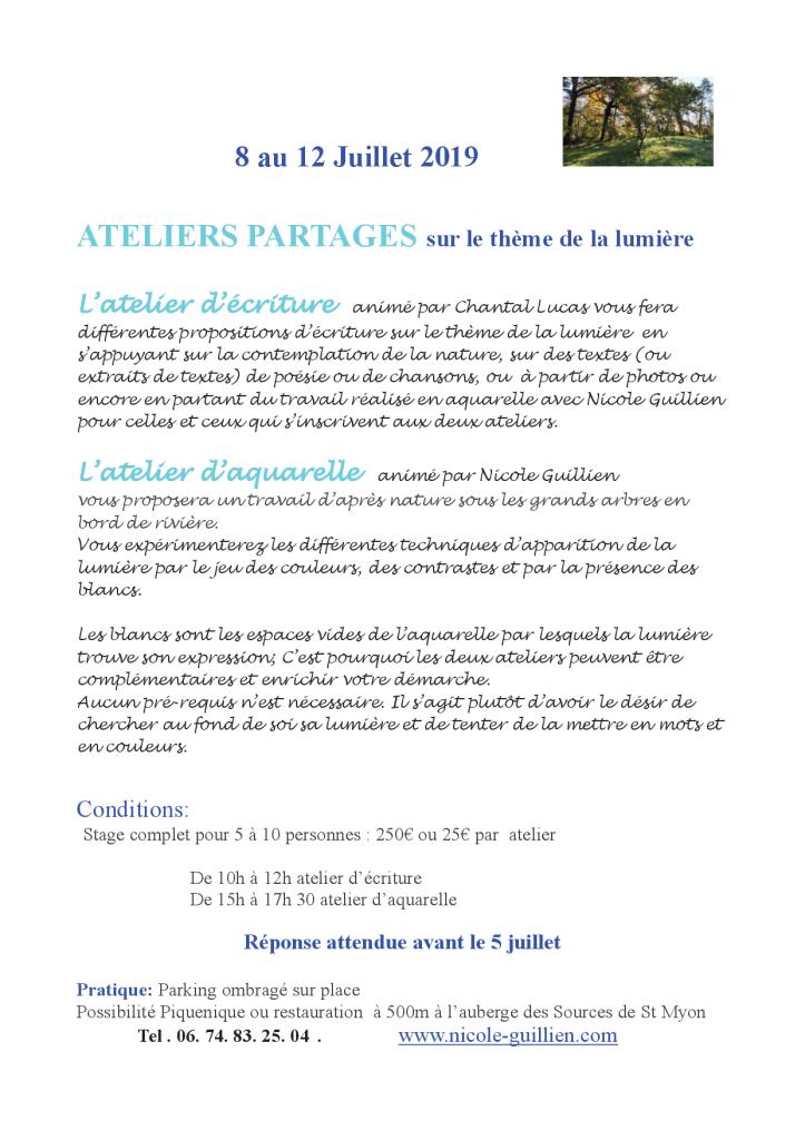 Atelier partagé Juillet 2019